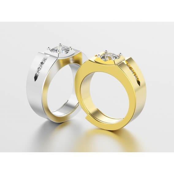 טבעת לגבר מיוחדת עם חריטות עם שיבוץ יהלומים 0.63 קראט - טיילר