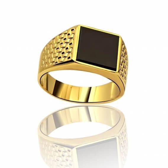 טבעת לגבר מיוחדת עם יהלום שחור פרינסס 4.02 קראט - מקס