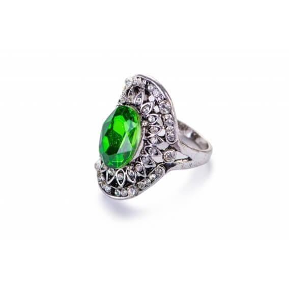 טבעת לגבר מלכותית עם אבן חן אמרלד ומסביב משובצים יהלומים 3.78 קראט - פיליס