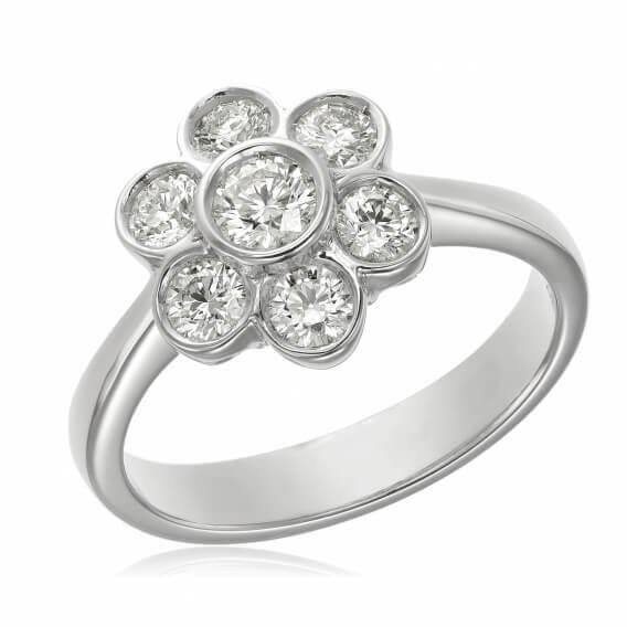 טבעת מעוצבת בצורת פרח זהב לבן 0.35 קראט - ליאה