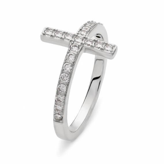 טבעת אירוסין מעוצבת בשיבוץ יהלומים וזהב לבן