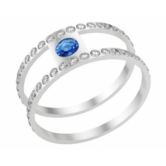טבעת מעוצבת בשילוב זהב לבן ויהלומים ספיר כחול 28 נקודות
