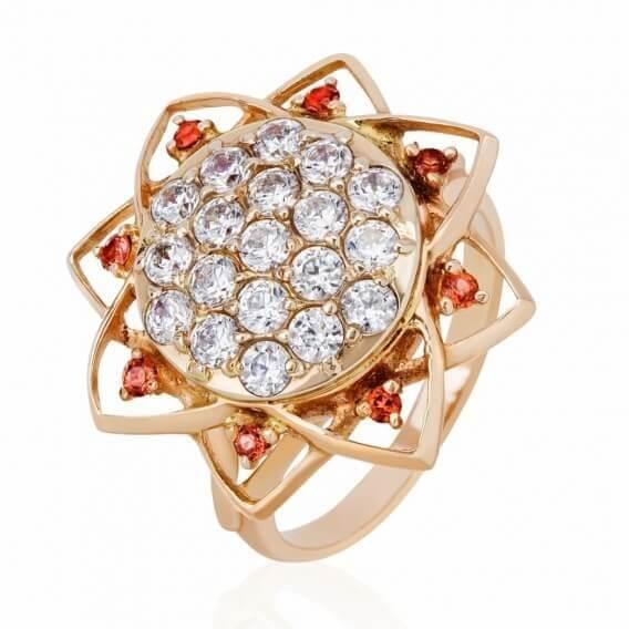 טבעת מעוצבת בשילוב זהב צהוב ויהלומים סטאר 81 נקודות