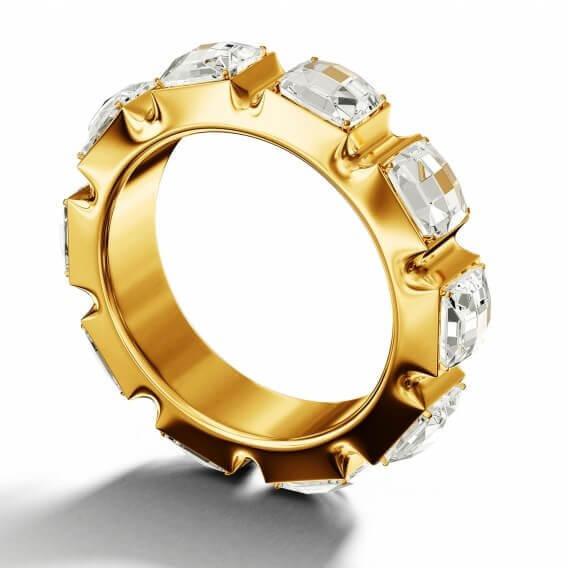 טבעת אירוסין מעוצבת זהב צהוב בשיבוץ יהלומים 0.52 קראט - שרון