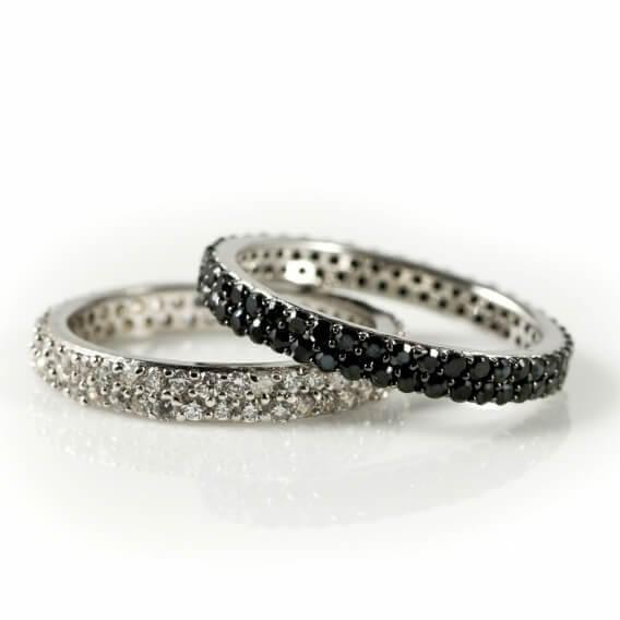 טבעות מעוצבות משובצות יהלומים שחור לבן 1.61 קראט סיינה