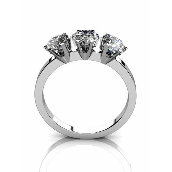 טבעת מעוצבת 3 יהלומים זהב לבן 0.33 קראט