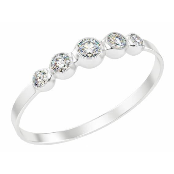 טבעת אירוסין 5 יהלומים קלאסית בשילוב זהב לבן
