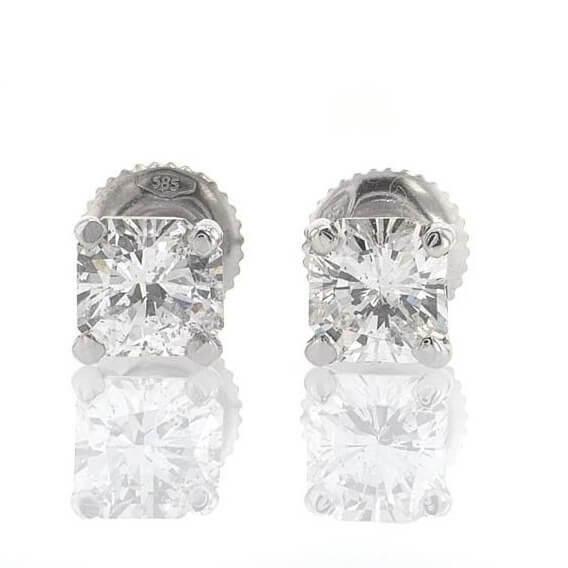 עגילי יהלום צמודים מרובעים 1.54 קראט סאנדיי
