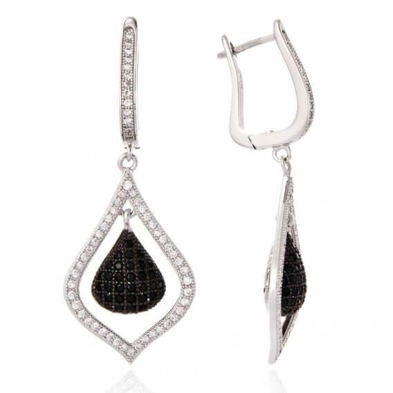 עגילי יהלומים וזהב לבן עם יהלומים שחורים 1.28 קראט דיון SD 24