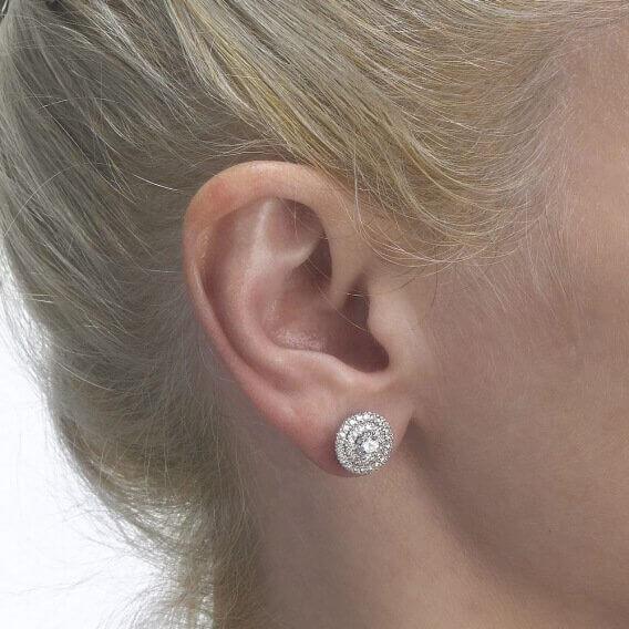 עגילי יהלום צמודים קלאסיים 1.54 קראט דגם אינפיניטי