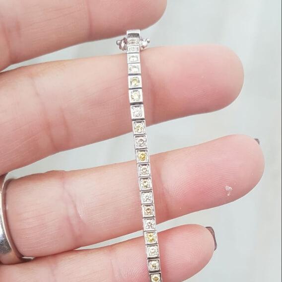צמיד טניס בשיבוץ יהלומים וזהב 2.6 קראט קיוב