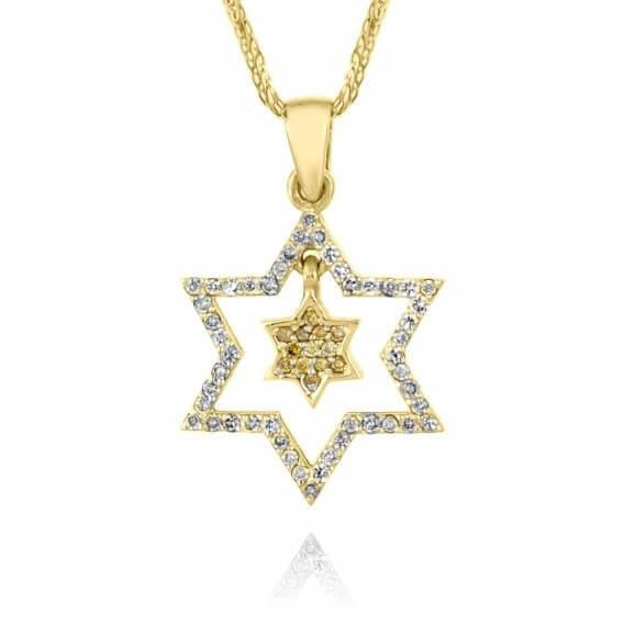 שרשרת יהלומים בעיצוב מיוחד מגן דוד 48 נקודות זהב צהוב