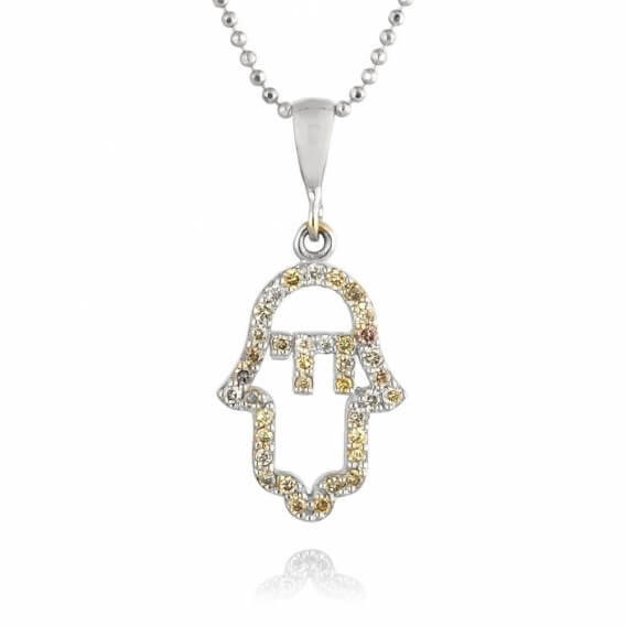 שרשרת יהלומים וזהב בעיצוב חמסה 40 נקודות ג'ודה