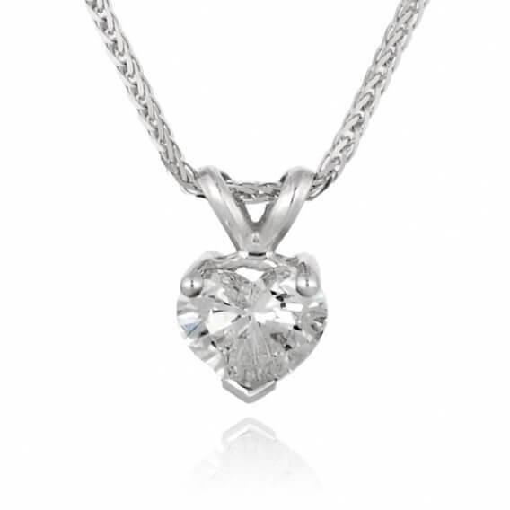 שרשרת יהלומים וזהב קלאסית בעיצוב לב 91 נקודות הארט