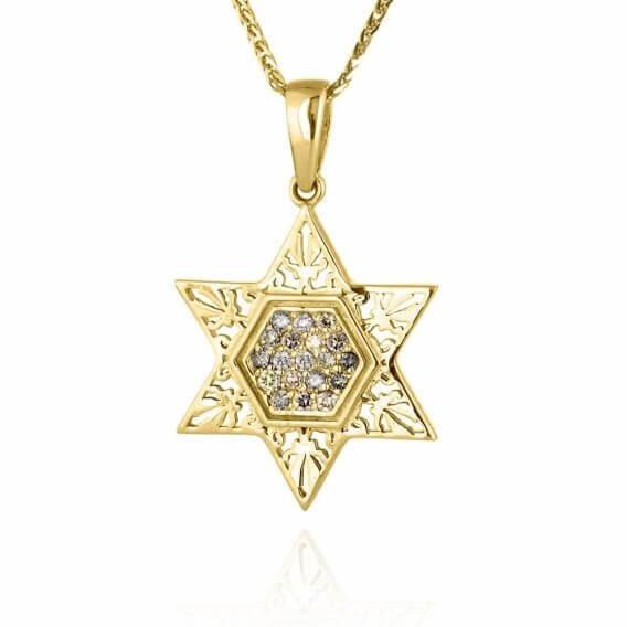תליון יהלומים קלאסי בעיצוב מגן דוד 32 נקודות מכבי