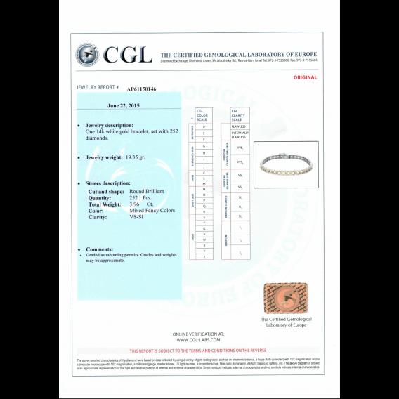 צמיד בשיבוץ יהלומים צבעוניים 3.96 קראט סאנסט SD 43