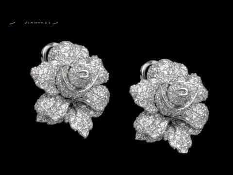 עגילי יהלום צמודים בשיבוץ 400 יהלומים וזהב 4.02 קראט בלומין