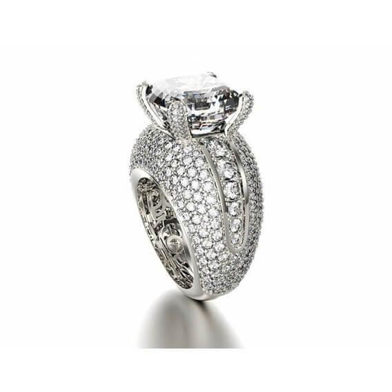 טבעת יהלומים יוקרתית זהב לבן קלאוד 3.78 קראט