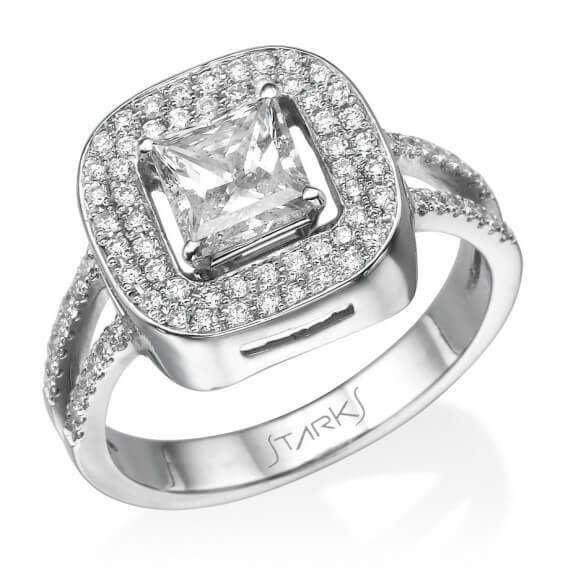 טבעת אירוסין עם יהלום מרובע זהב לבן