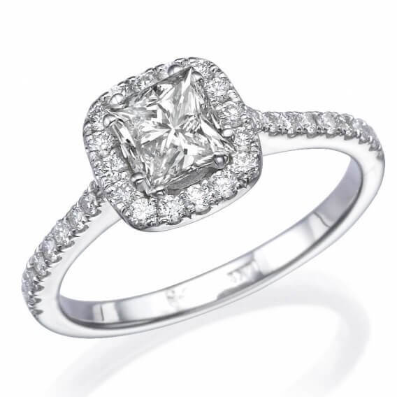 טבעת אירוסין 1 קראט יהלום מרובע