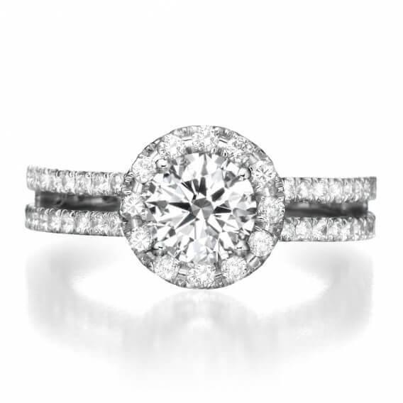 טבעת אירוסין בעיצוב מיוחד זהב לבן 1.70 קראט