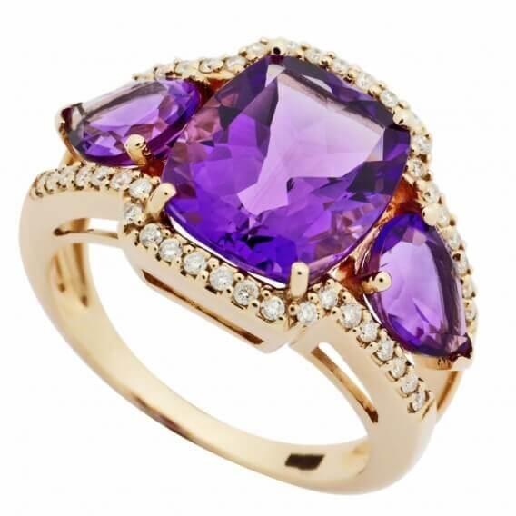 טבעת יהלומים בשיבוץ אבן חן איסו 2.45 קראט