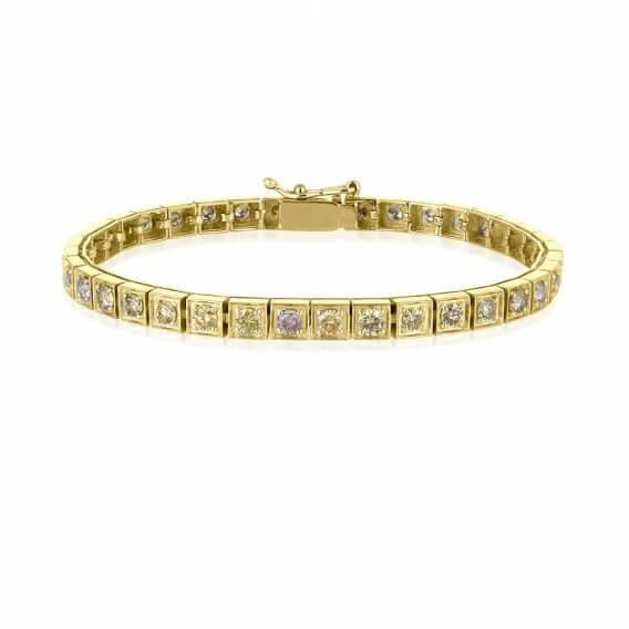 צמיד טניס זהב בשיבוץ יהלומים צבעוניים 3.36 קראט סאני