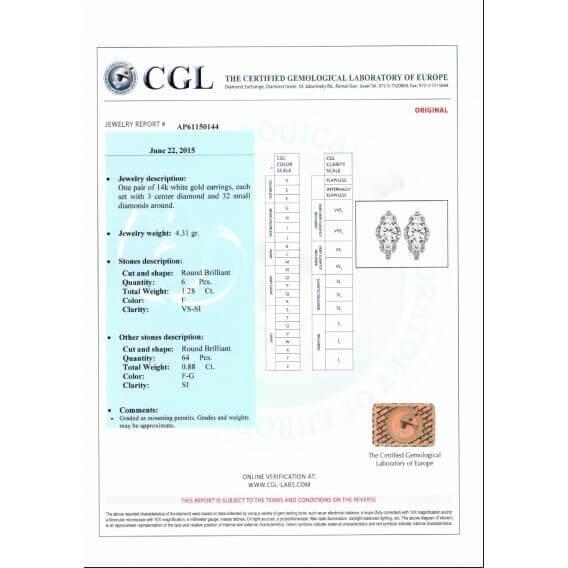 עגילי יהלומים 2.16 קראט גואן