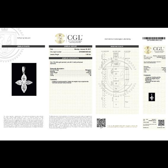 שרשרת יהלומים מרקיזה וזהב בעיצוב צלב 2.38 קראט אנג'לו