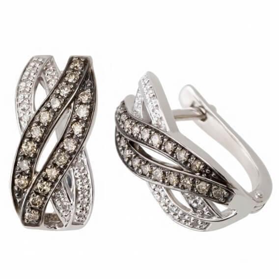 עגילי יהלומים וזהב לבן בעיצוב מיוחד 66 נקודות אודל
