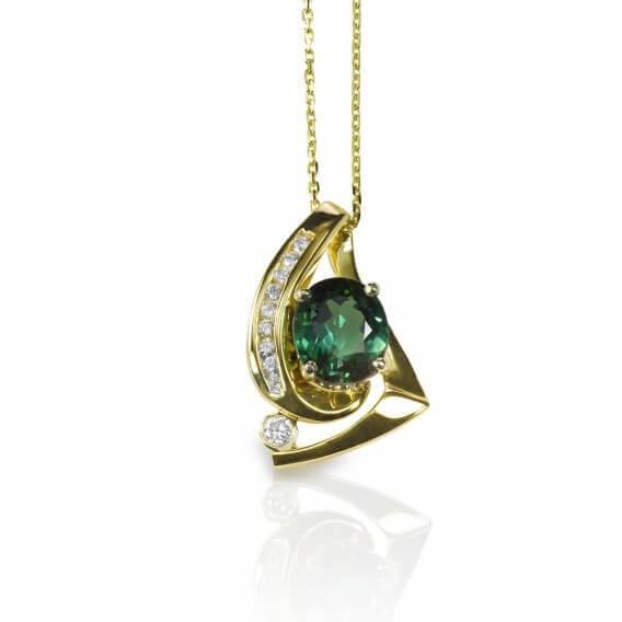 תליון יהלומים ואבן חן 1.87 קראט ירוקה מלאני