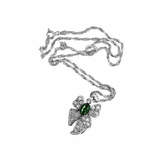 שרשרת יהלומים ואבן חן ירוקה סליה 0.74 קראט