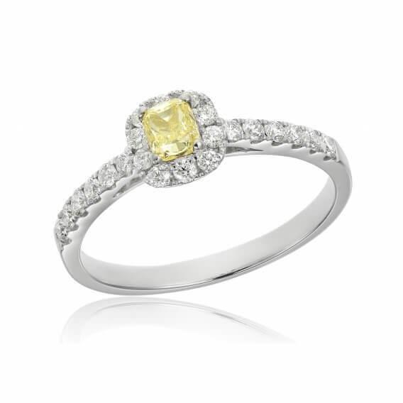 טבעת יהלומים עם אבן חן מרכזי 0.57 קראט - לוסי