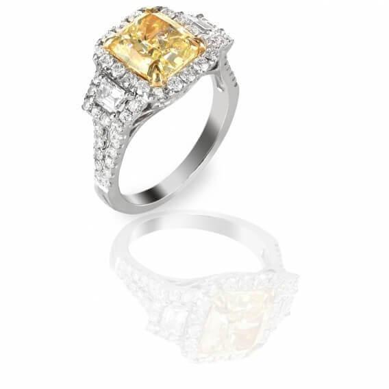 טבעת יהלומים עם אבן חן מרכזי 1.67 קראט - מארי