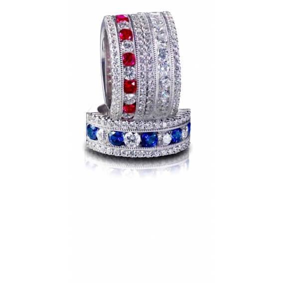טבעת יהלומים עם אבני חן 0.88 קראט - יוליוס
