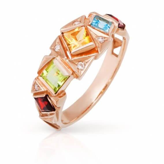טבעת זהב עם אבני חן 0.56 קראט - ג'נה