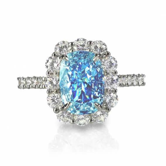 טבעת יהלומים עם אבן חן מרכזי 0.96 קראט - מריסה