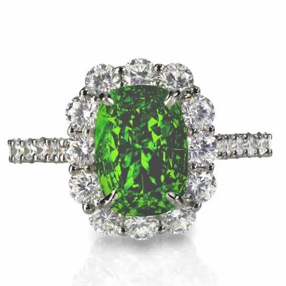 טבעת יהלומים עם אבן חן מרכזי 1.02 קראט - קיילי