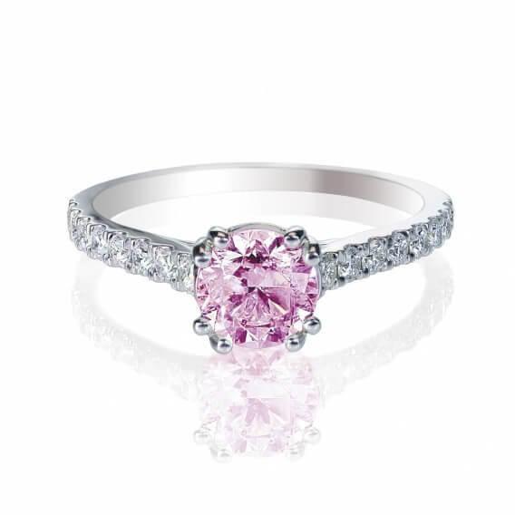טבעת יהלומים עם אבן חן מרכזי 0.81 קראט - קרול