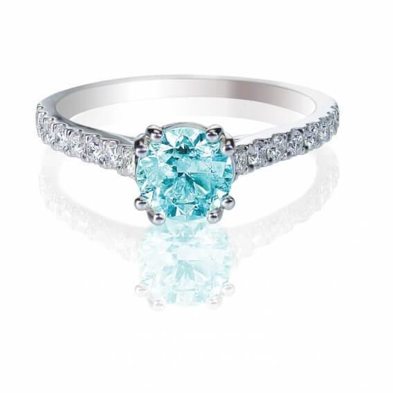 טבעת יהלומים עם אבן חן מרכזי 0.81 קראט - אפריל