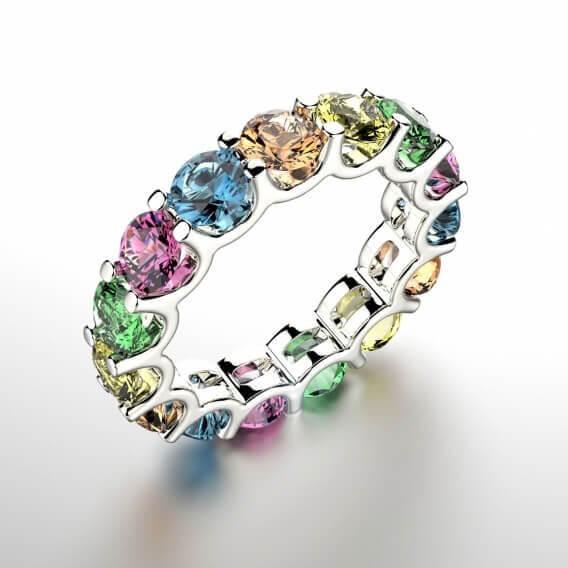 טבעת זהב עם אבני חן 1.12 קראט - לוליטה