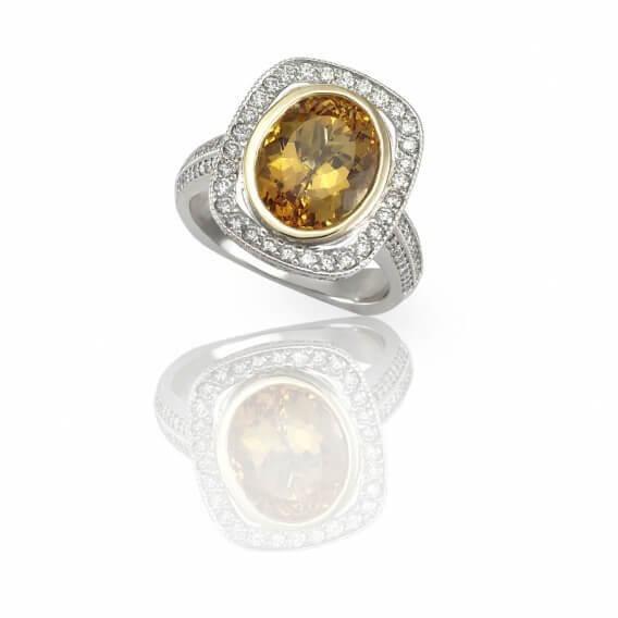 טבעת יהלומים עם אבן חן מרכזי 1.58 קראט - איימי