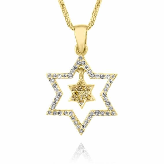 תליון יהלומים בעיצוב מיוחד מגן דוד 48 נקודות