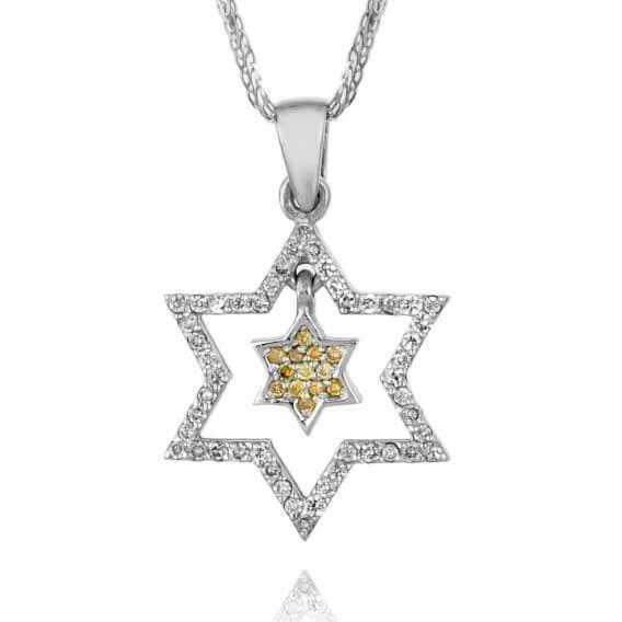 תליון יהלומים צהב לבן מגן דוד 48 נקודות