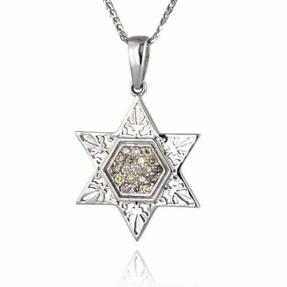 תליון יהלומים צבעוניים זהב לבן מגן דוד 32 נקודות מכבי