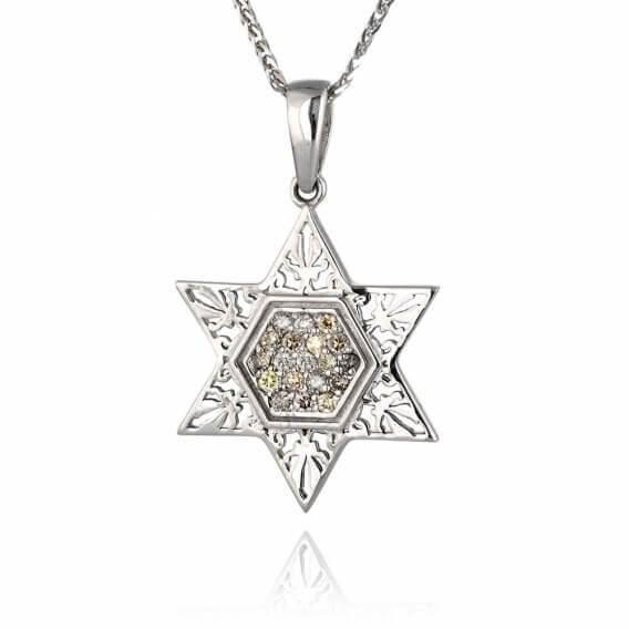 תליון יהלומים צבעוניים מגן דוד 32 נקודות מכבי