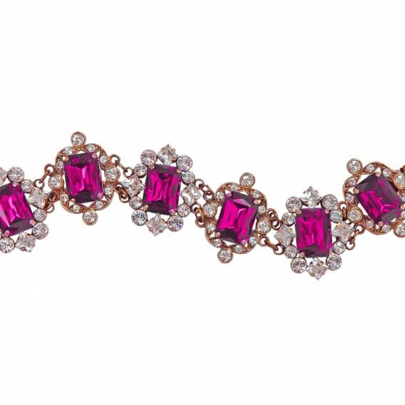 צמיד יהלומים משולב עם אבני חן רובי SD 66