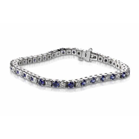 צמיד טניס יהלומים בשילוב אבני ספיר כחולות
